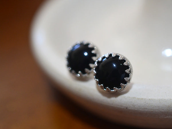 Handmade Sterling Silver & 10mm Black Onyx Studs
