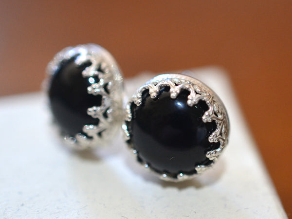 Handmade 10mm Black Onyx Gemstone Studs in Sterling Silver