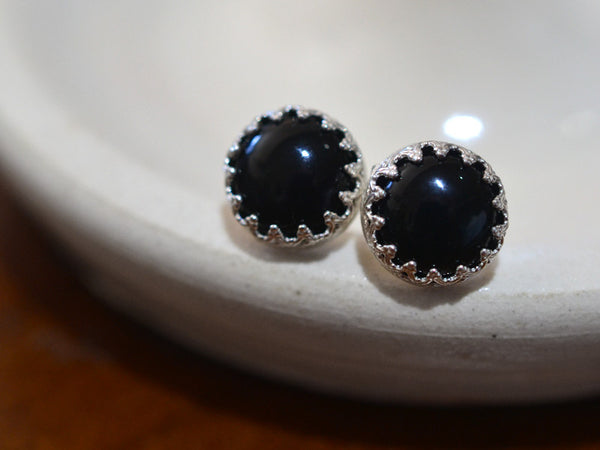Handmade Sterling Silver Bezel Set Black Onyx Post Earrings