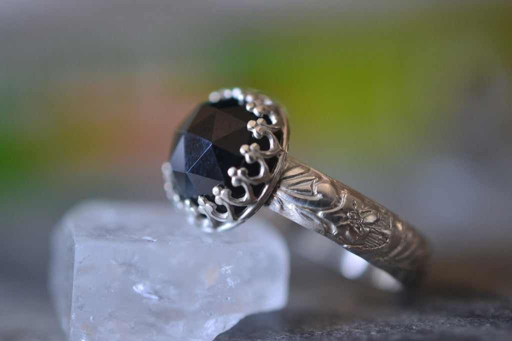 Rose Cut Black Spinel Ring in Sterling Silver