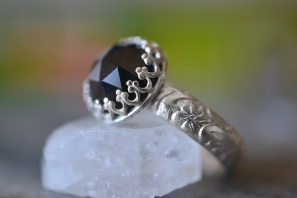 Natural Black Spinel Crystal Ring in Sterling Silver