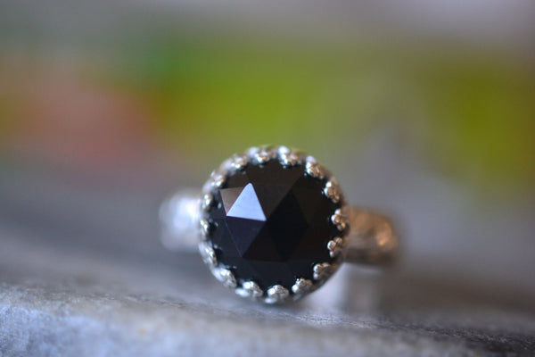Rose Cut Black Spinel Gemstone Ring in Sterling Silver