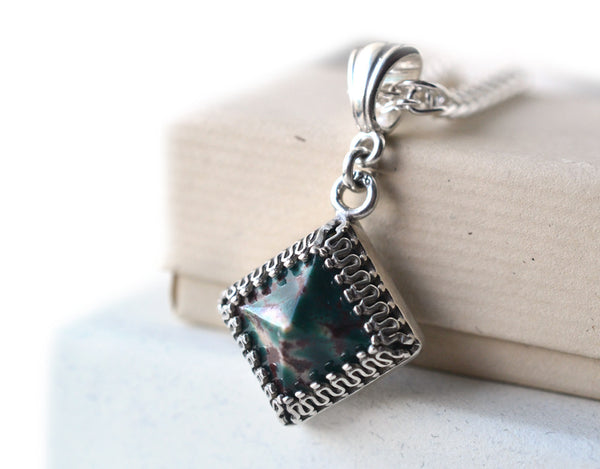 Natural Bloodstone Pyramid Pendant in Sterling Silver