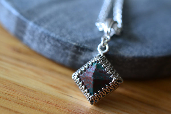 Bloodstone Pyramid Gemstone Necklace in Sterling Silver