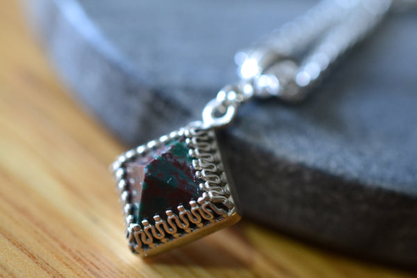 Pyramid Cut Bloodstone Gemstone Necklace with Silver Chain