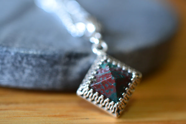 Bloodstone Pyramid Necklace in Sterling Silver