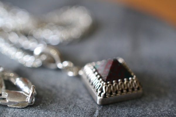 Bloodstone Pyramid Pendant with Sterling Silver Chain