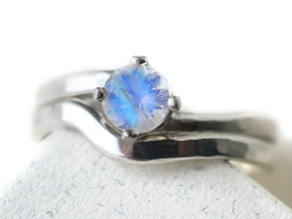 Women's Simple Sterling Silver Blue Moonstone Wedding Set