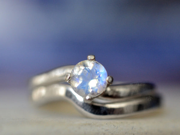 Blue Moonstone Engagement Ring & Sterling Wedding Band