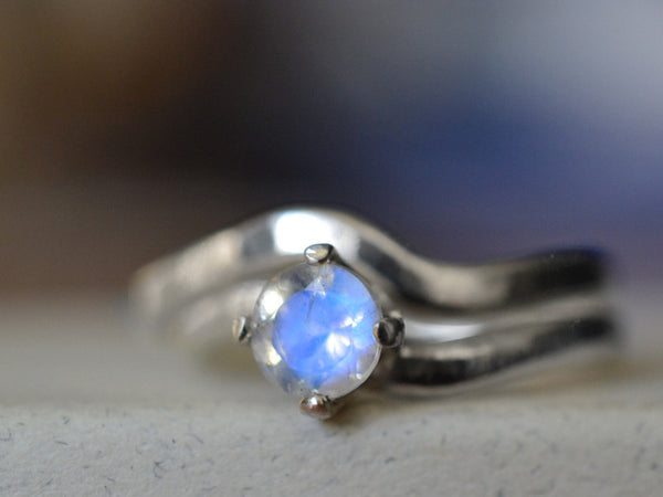 Wavy Sterling Silver Blue Moonstone Bridal Ring Set