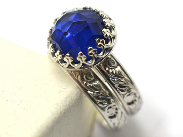 Honeycomb Blue Sapphire Floral Silver Wedding Set