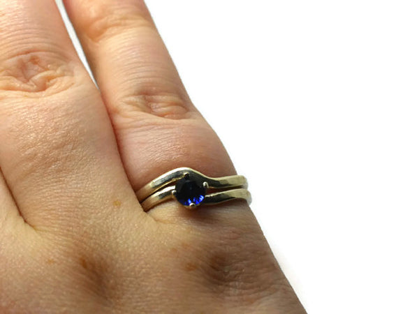 Minimalist Wavy Sterling Silver & 5mm Faceted Blue Sapphire Solitaire Ring