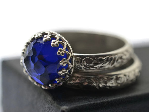 Handmade Floral Silver Blue Sapphire Bridal Ring Set
