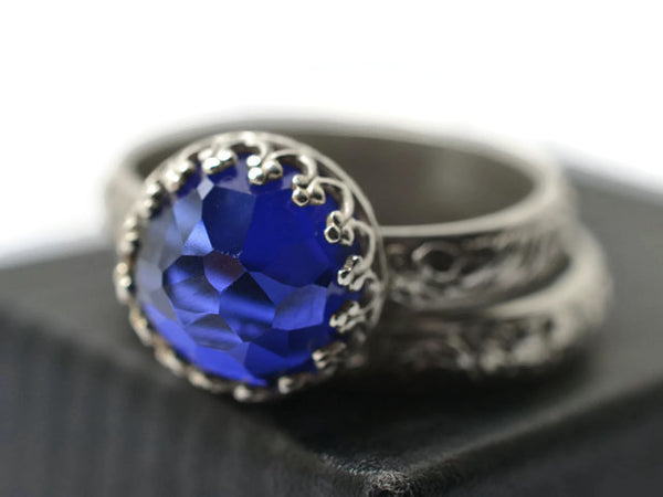 Honeycomb Lab Sapphire Wedding Ring Set for Women