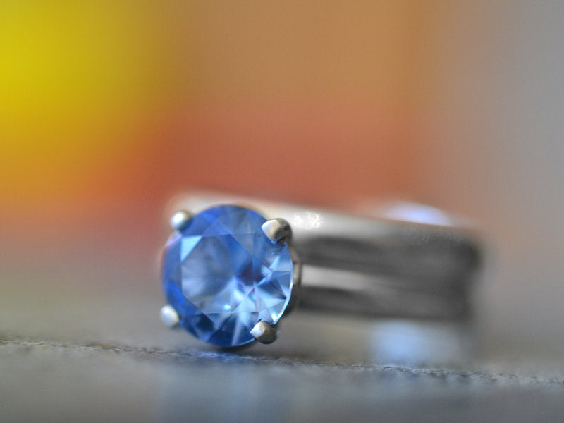 Simple 8mm Blue Spinel Engagement Ring & Silver Wedding Band