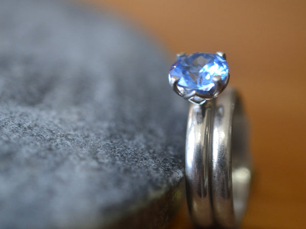 Minimalist Blue Spinel Bridal Ring Set in Domed Sterling Silver