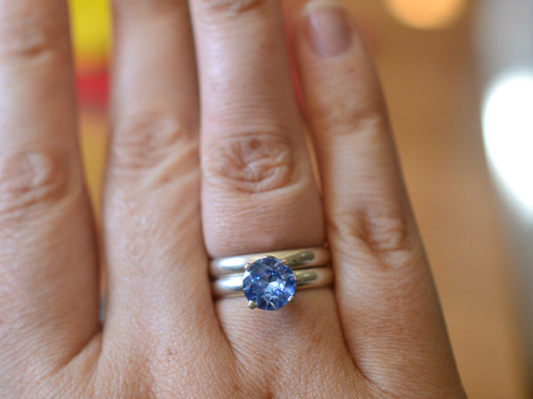 Women's Blue Spinel Wedding Set in Silver With Engraving