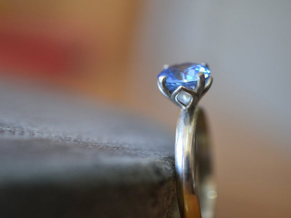 Minimalist Sterling Silver & Blue Spinel Engagement Ring