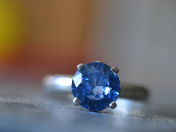 8mm Round Faceted Blue Spinel Engagement Ring in Sterling Silver