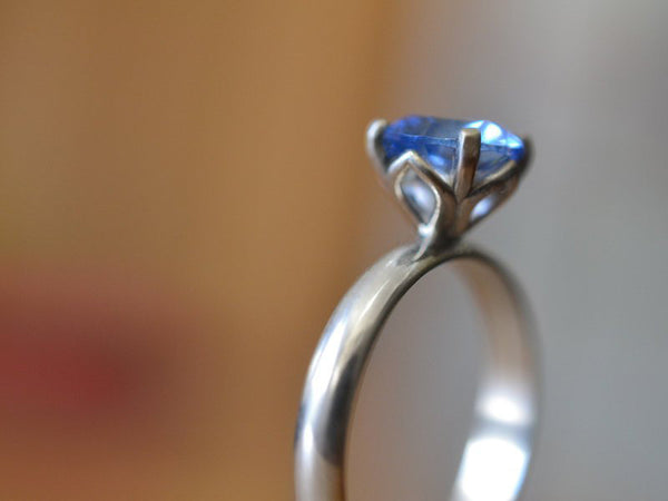 Women's Simple Blue Spinel Engagement Ring in Sterling Silver