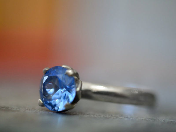 Elegant Engagement Ring in Sterling Silver with Blue Spinel