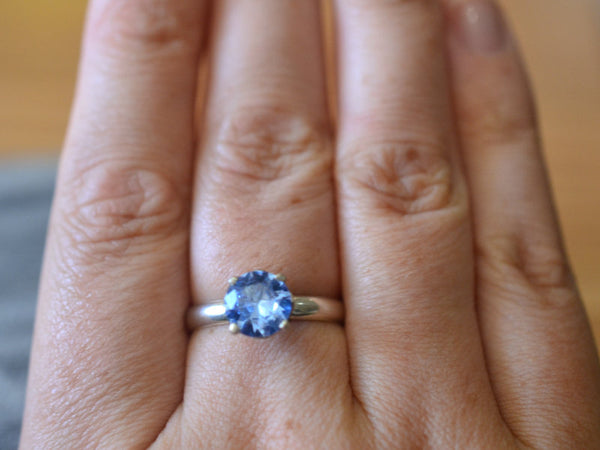 Simple Blue Spinel Gemstone Solitaire Engagement Ring in Silver