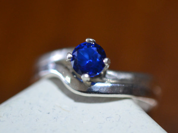 Blue Spinel Wedding Ring Set in Sterling Silver