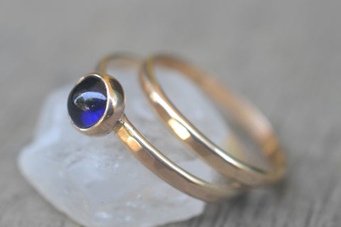 Simple Blue Sapphire Bridal Ring Set in 14K Gold
