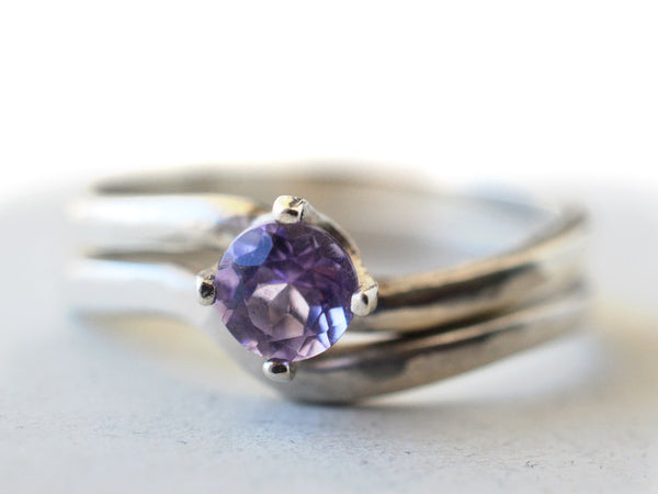 Women's Curved Silver & Brazilian Amethyst Bridal Set