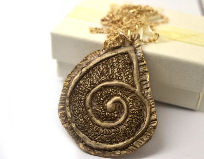Bronze Clay Ammonite Pendant with 14K Gold Filled Chain