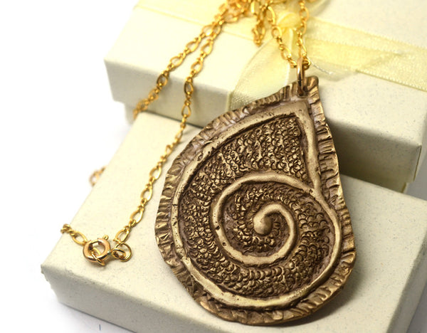 Handmade Bronze Nautilus Necklace with 14K GF Chain