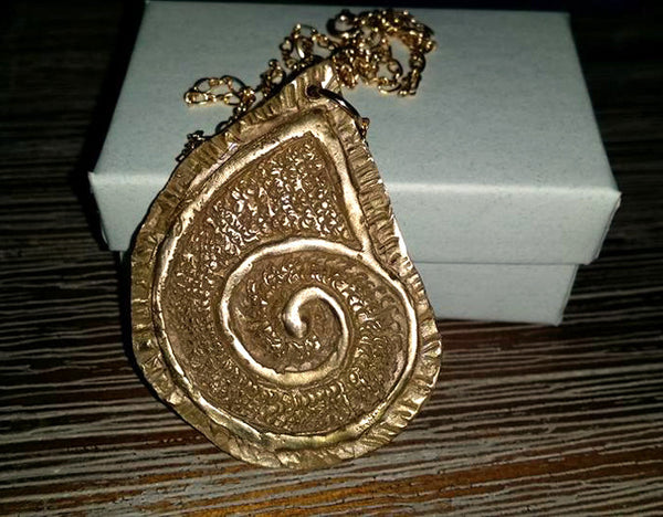 Sculpted Bronze Clay Ammonite Fossil Pendant