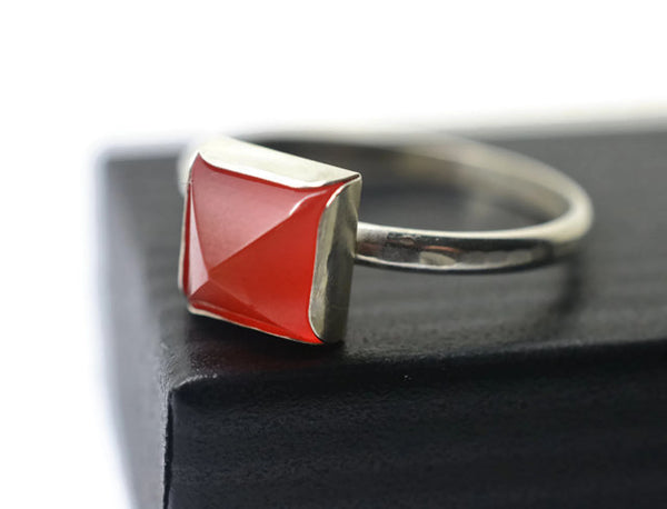 Handmade Sterling Silver Red Carnelian Pyramid Ring