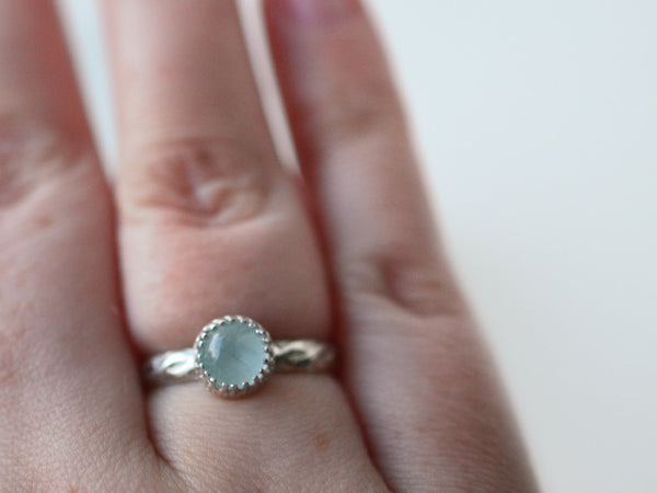 Women's Celtic Silver Aquamarine Engagement Ring