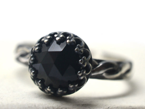 Women's Antiqued Silver Black Onyx Engagement Ring