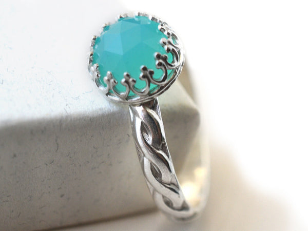 Handcrafted Celtic Inspired Peruvian Blue Opal Engagement Ring