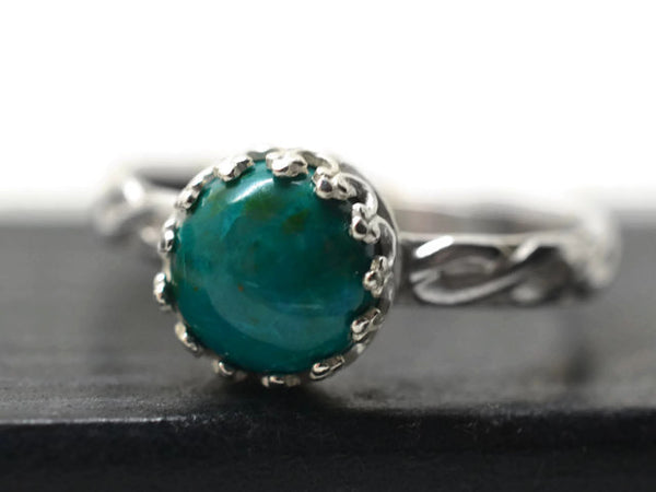 Handforged Sterling Silver Celtic Style Chrysocolla Ring