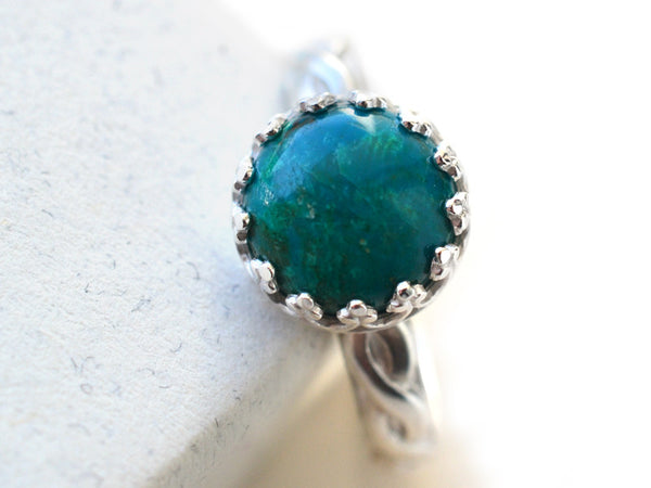 Women's Sterling Silver Celtic Style Chrysocolla Ring