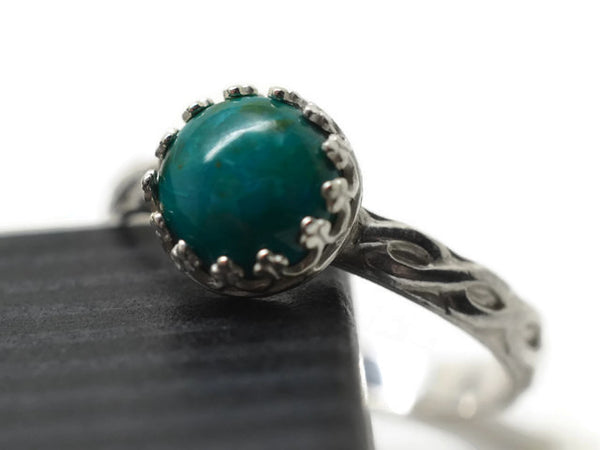 Natural Blue Green Chrysocolla Statement Ring
