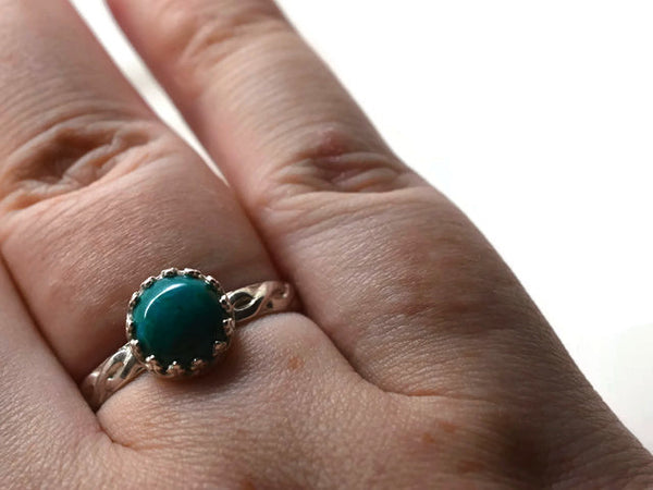 Silver Celtic Inspired Natural Chrysocolla Ring