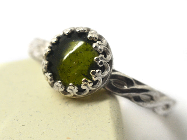 Handmade Women's Silver Celtic Green Tourmaline Ring