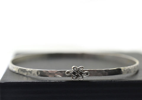 Handforged Sterling Silver Celtic Knot Bangle