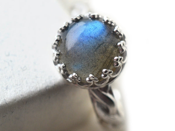 Women's Silver Celtic Style Labradorite Engagement Ring