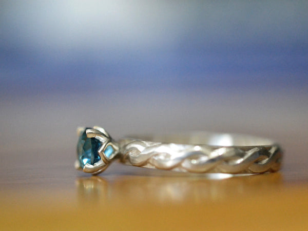 Handmade Sterling Silver Celtic Style London Blue Topaz Ring