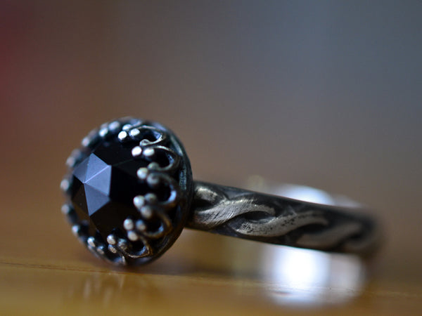 Women's Celtic Black Onyx Engagement Ring in Oxidised Silver