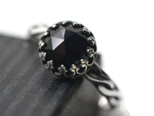Handmade Oxidised Silver Celtic Style Black Onyx Engagement Ring