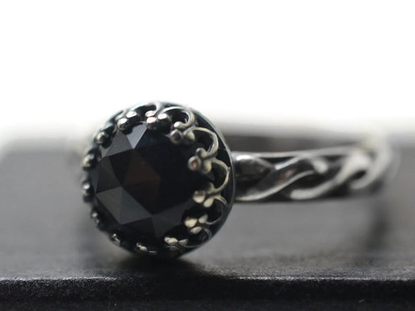 Antiqued Silver Celtic Style Black Onyx Ring for Women