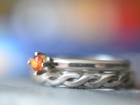 Women's Celtic Style Orange Sapphire Wedding Ring Set in Silver