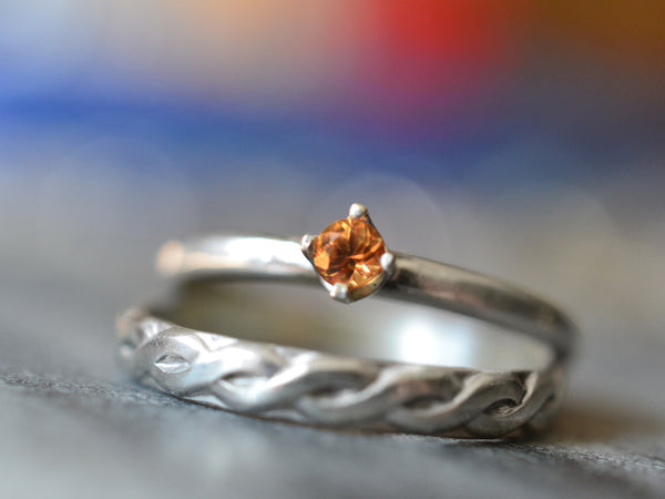 Orange Sapphire Bridal Ring Set in Sterling Silver For Women
