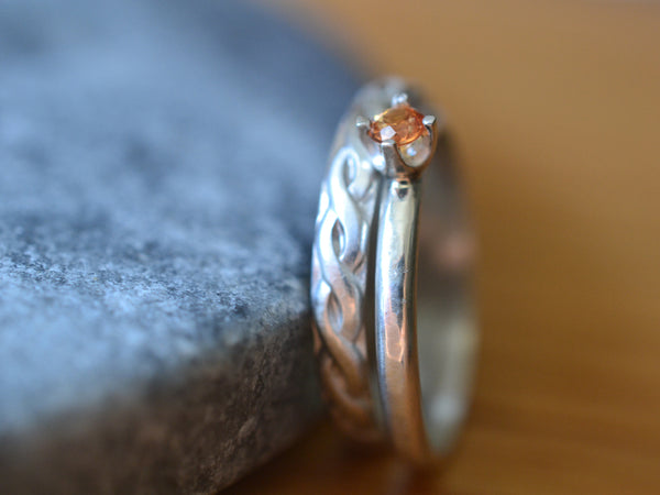 Simple Personalised Orange Sapphire Wedding Band Set in Silver